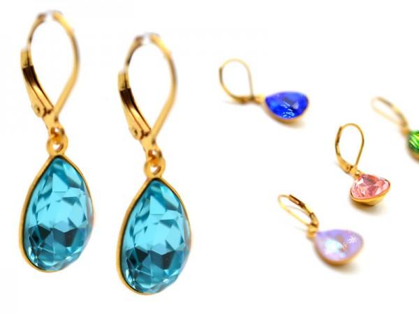 """Einzelbestellung Gold Ohrhänger """"Tropfen"""" mit funkelnden Kristallen"""